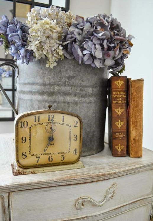 clock-dresser-books-hydrangea