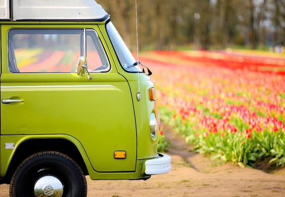 green-van-with-flowers