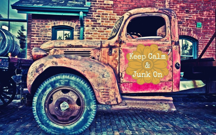 keep calm and junk on pink aqua vintage truck