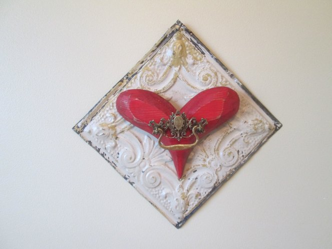 tin ceiling tile with red heart
