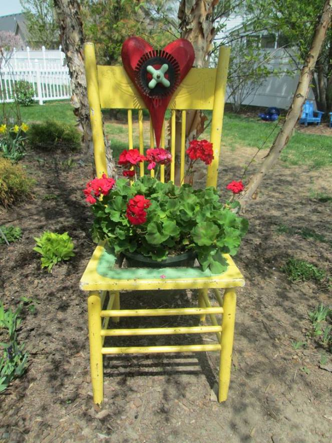 yellow chair outdoors