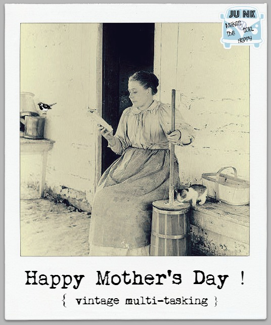 Happy Mother's Day vintage multitasking woman