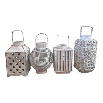 shabby chic white wooden lanterns
