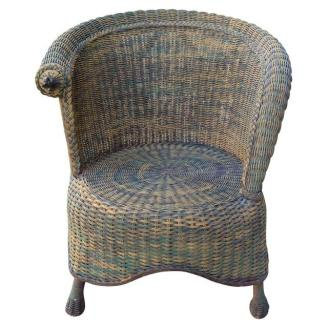 shabby like chic wicker chair in distressed green