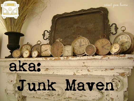 aka Junk Maven clock vingette with mantel from sweet pea home