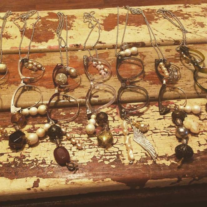 vintage eye glass frame necklaces from a unknown vendor at The Old Chicken Farm FB